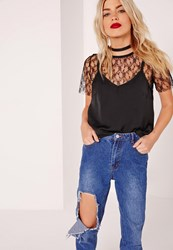 Missguided Lace Tee Overlay Cami Black Black