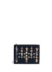 Marni Crystal Applique Bonded Crepe Leather Pouch Black
