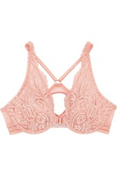Stella Mccartney Isabel Floating Corded Lace And Point D'esprit Plunge Bra Blush