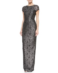 Rachel Gilbert Amelia Jewel Embellished V Back Lace Gown Black Metallic