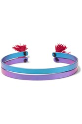 Ileana Makri Iam By Summer Titan Set Of Two Tasseled Titanium Cuffs Blue