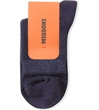 Missoni Metallic Detail Cotton Blend Ankle Socks Navy 0003