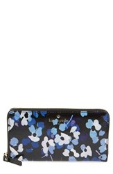 Kate Spade Women's New York 'Cedar Street Floral Lacey' Coated Canvas Zip Around Wallet Black Black Multi