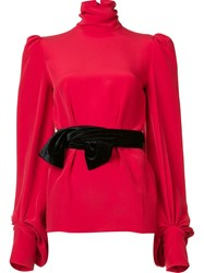 Hillier Bartley Belted High Neck Blouse Red