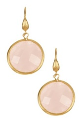 Rivka Friedman 18K Gold Clad Bold Round Faceted Rose Quartz Dangle Earrings Pink