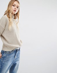 Daisy Street High Neck Jumper In Sparkle Knit Nude Beige