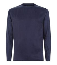 Emporio Armani Stitch Chest Long Sleeve Top Male Navy