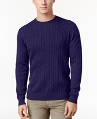 Club Room Men's Pima Cotton Cable Knit Sweater Only At Macy's Navy Blue