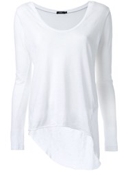 Bassike Scoop V Neck Long Sleeve T Shirt With Tail White