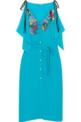Matthew Williamson Embellished Embroidered Silk Crepe De Chine Dress Turquoise