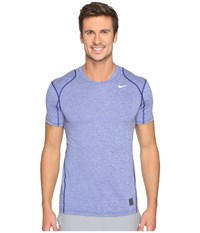 Nike Pro Cool Fitted Heather Top Deep Royal Blue Deep Royal Blue White Men's Clothing