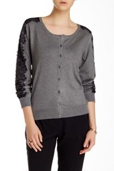 Carmen Marc Valvo Long Sleeve Scoop Neck Cardigan Gray