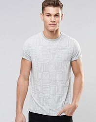 Asos T Shirt With Burnout Wash And Geo Tribal Print Blue Surf