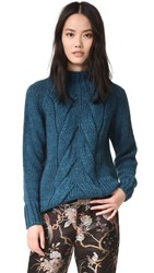 Otto D'ame Cable Knit Sweater Azzurro