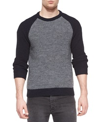 Iro Wool Blend Crewneck Baseball Sweater Gray