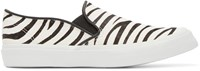 Junya Watanabe Black And White Calf Hair Zebra Slip On Sneakers
