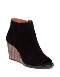 Lucky Brand Leather Open Toe Booties Black