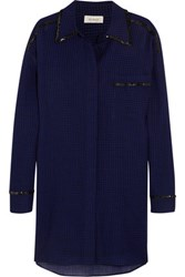 Isa Arfen Oversized Sequin Trimmed Checked Wool Shirt Dress Royal Blue