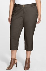 Plus Size Women's Sejour 'Addison' Stretch Crop Pants Olive Tuscan