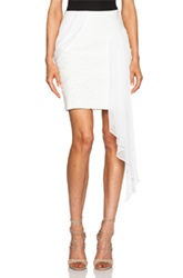 Prabal Gurung Draped Chiffon Cotton Blend Pencil Skirt In White