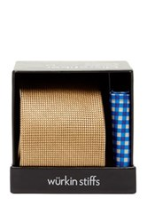 Wurkin Stiffs Solid Tie And Pocket Square Set Orange