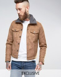 Black Phoenix Western Jacket Faux Suede With Borg Collar In Camel Camel Tan