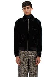 Saint Laurent Velvet Teddy Bomber Jacket Green
