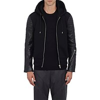 Givenchy Men's Leather And Neoprene Hooded Jacket Blue