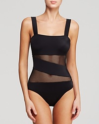 Dkny Mesh Effect Splice Maillot One Piece Swimsuit Black