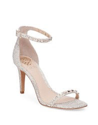 Vince Camuto Cassandy Snakeskin Printed Suede Dress Sandals White