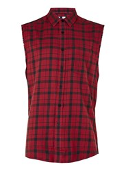 Topman Red Check Sleeveless Shirt