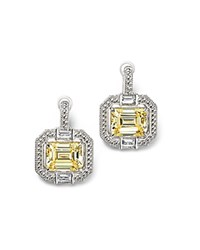 Judith Ripka Baguette Wrap Emerald Cut Frozen Earrings With Rock Crystal Quartz And Canary Crystal Yellow Silver