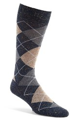 Lorenzo Uomo Men's 'Danubio' Argyle Crew Socks Denim