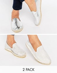 Asos Jeanie Two Pack Espadrilles Ivory Crochet Silver Multi