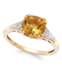 Macy's Citrine 2 1 5 Ct. T.W. And Diamond Accent Ring In 14K Gold Yellow Gold