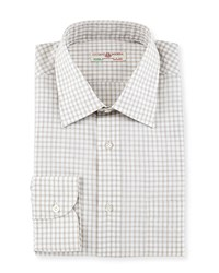 Luciano Barbera Lightweight Check Woven Shirt Tan White