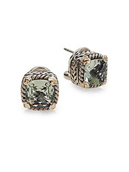 Effy Green Amethyst Sterling Silver And 18K Yellow Gold Button Earrings Silver Green