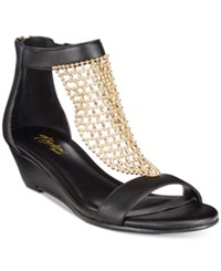Thalia Sodi Tibby Gold Mesh Embellished Wedge Sandals Only At Macy's Women's Shoes Black