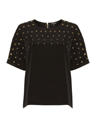 Episode Shortsleeved Embelished Stud Top Black