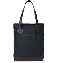 Club Monaco Leather Trimmed Cotton Canvas Tote Blue