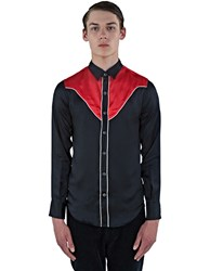 Saint Laurent Satin Contrast Yoke Shirt Black