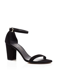 Stuart Weitzman Nearlynude Open Toe Mid Heel Sandals Black