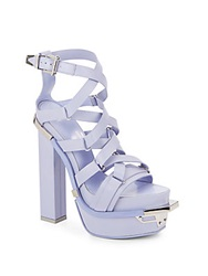 Versace Leather Strappy Platform Sandals Purple