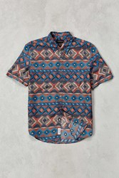 Cpo Painted Ikat Short Sleeve Button Down Shirt Rust