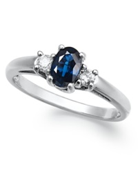 Macy's 14K White Gold Ring Sapphire 1 2 Ct. T.W. And Diamond 1 8 Ct. T.W 3 Stone Ring