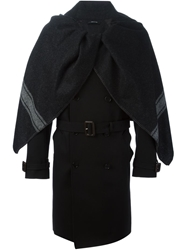 Caped Trench Coat Black