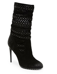 Dolce Vita Mia Grommet Suede Mid Calf Boots Black