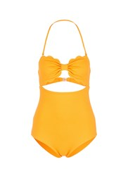 Marysia 'Antibes' Cutout Bow Bandeau One Piece Swimsuit Yellow
