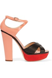 Jimmy Choo Tiber Color Block Suede Leather And Patent Leather Sandals Orange