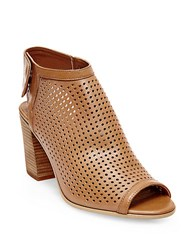 Steve Madden Suzy Perforated Leather Booties Tan